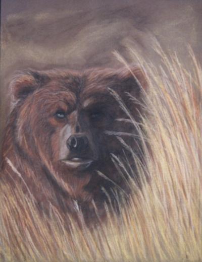 Esther Maurer, Dessin au pastel L'ours, 2003